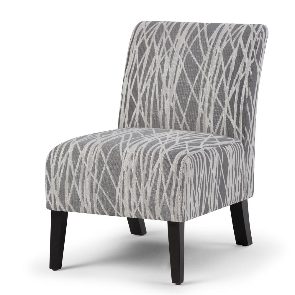 Black And White Accent Chair Simpli Home Woodford 22 In Wide Transitional Accent Chair In Grey White Patterned Fabric