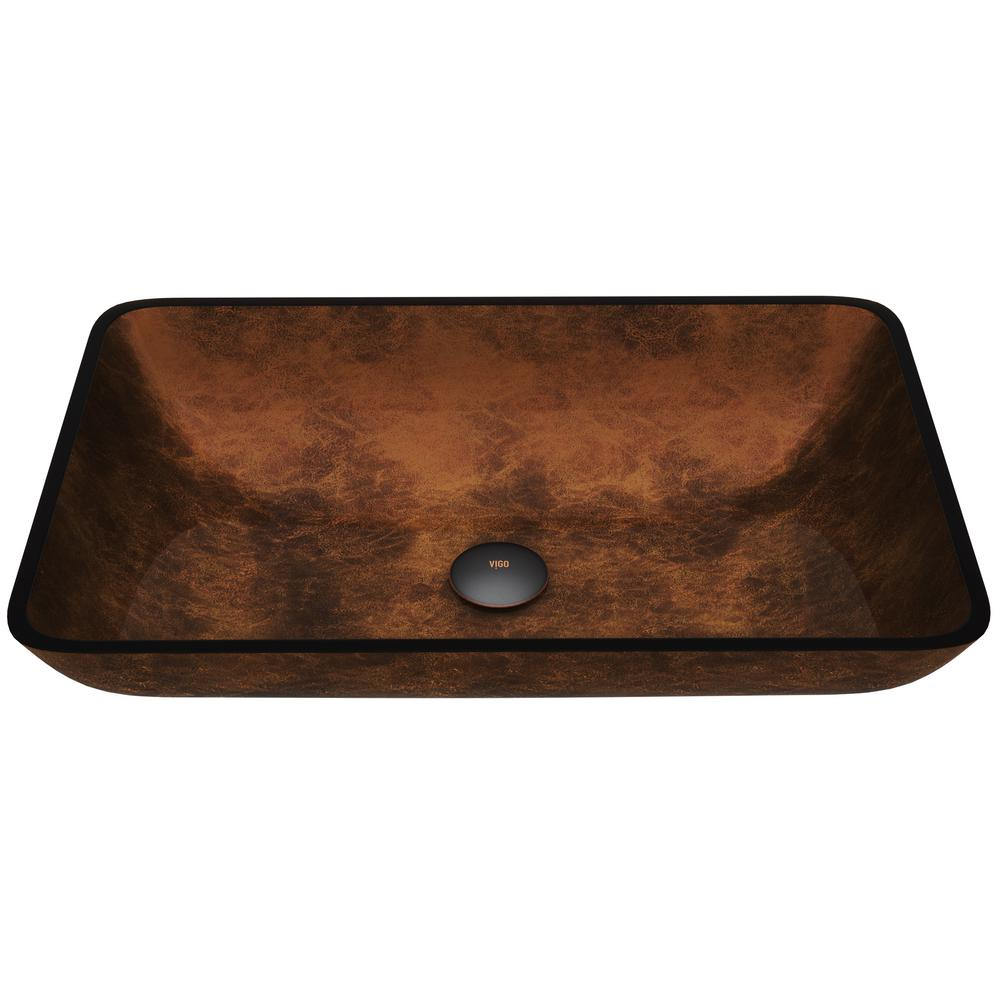 Countertop Glass Washer Vigo Russet Handmade Glass Rectangle Vessel Bathroom Sink In Rich Chocolate Brown