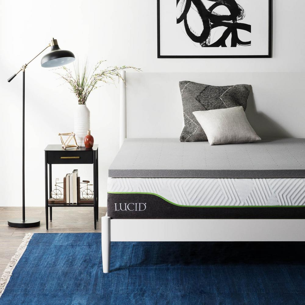 Bamboo Mattress Topper Review Lucid 2 In Cal King Bamboo Charcoal Memory Foam Mattress Topper