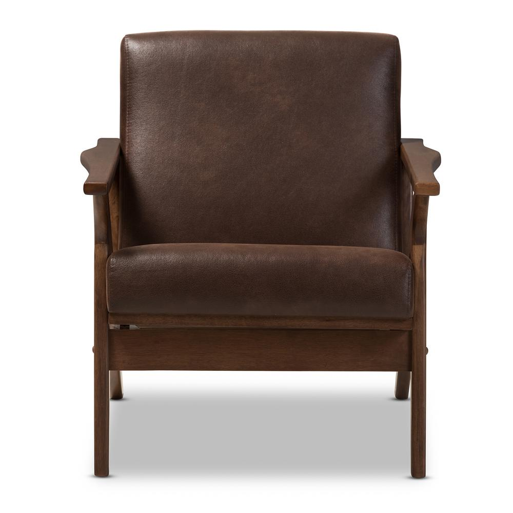 Leather Lounge Baxton Studio Bianca Dark Brown