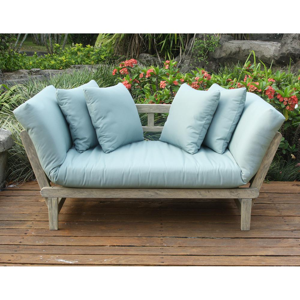 Outdoor Sofa Cambridge Casual Tulle Wood Outdoor Convertible Sofa Daybed With Teal Cushion
