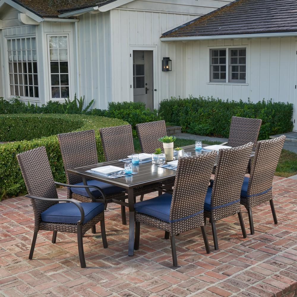 9 Piece Outdoor Dining Set Royal Garden Anacortes 9 Piece Aluminum Outdoor Dining Set With Midnight Cushions