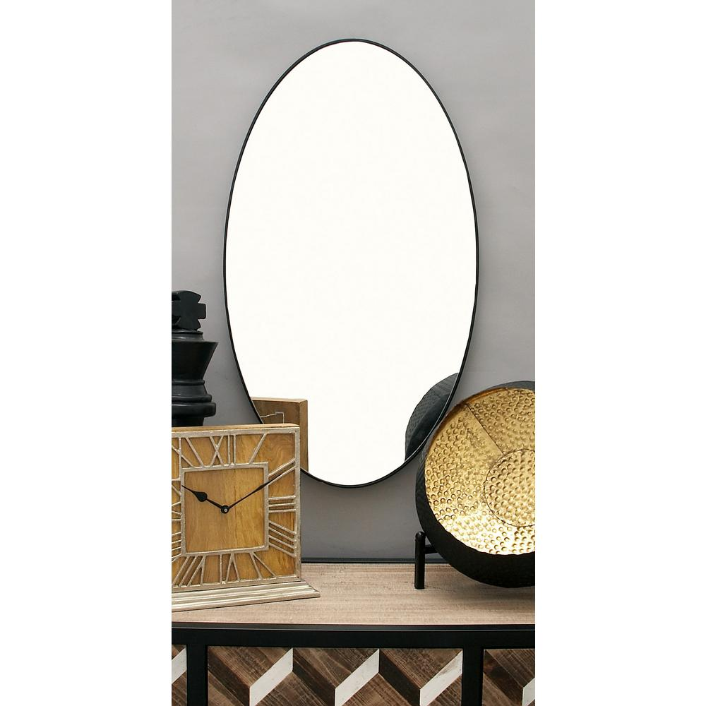 Oval Mirror Wood Frame 17 In X 32 In Modern Oval Black Wall Mirror