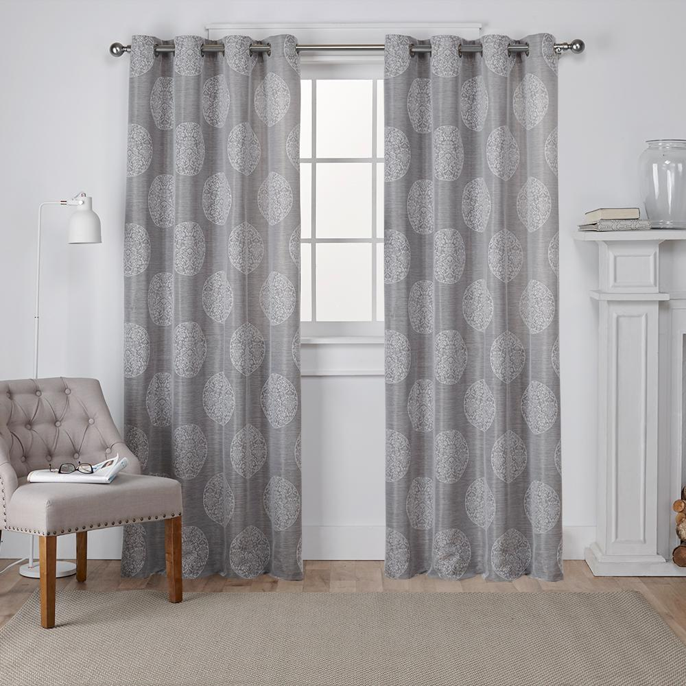 Jacquard Curtains Akola 54 In W X 84 In L Jacquard Grommet Top Curtain Panel In Ash Gray 2 Panels