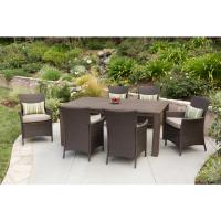Premium 7-Piece Wicker Outdoor Dining Set Beige Cushions ...
