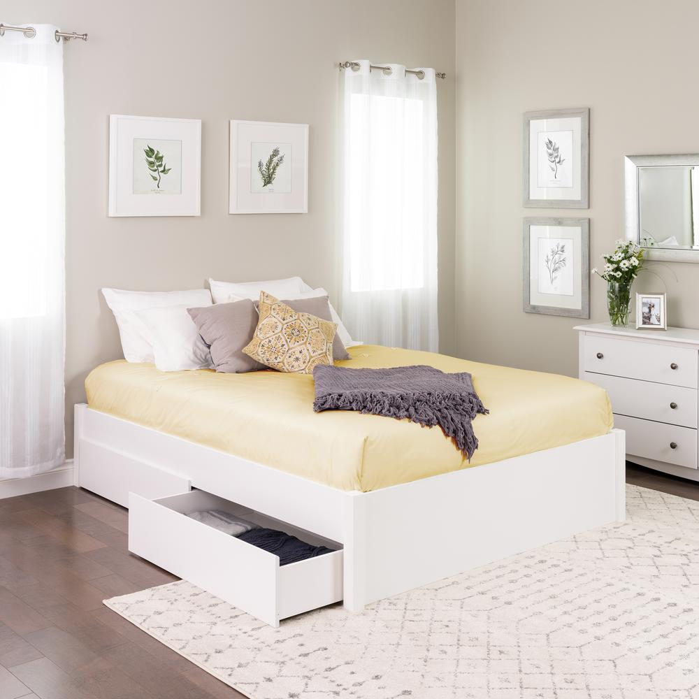 4post Bed Prepac Select White Queen 4 Post Platform Bed With 4 Drawers