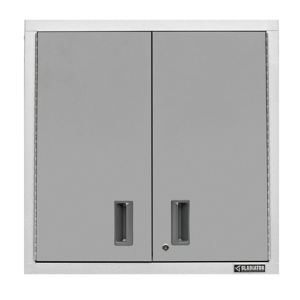 Metal Wall Cabinets Gladiator Premier Series Pre Assembled 30 In H X 30 In W X 12 In D Steel 2 Door Garage Wall Cabinet In Everest White