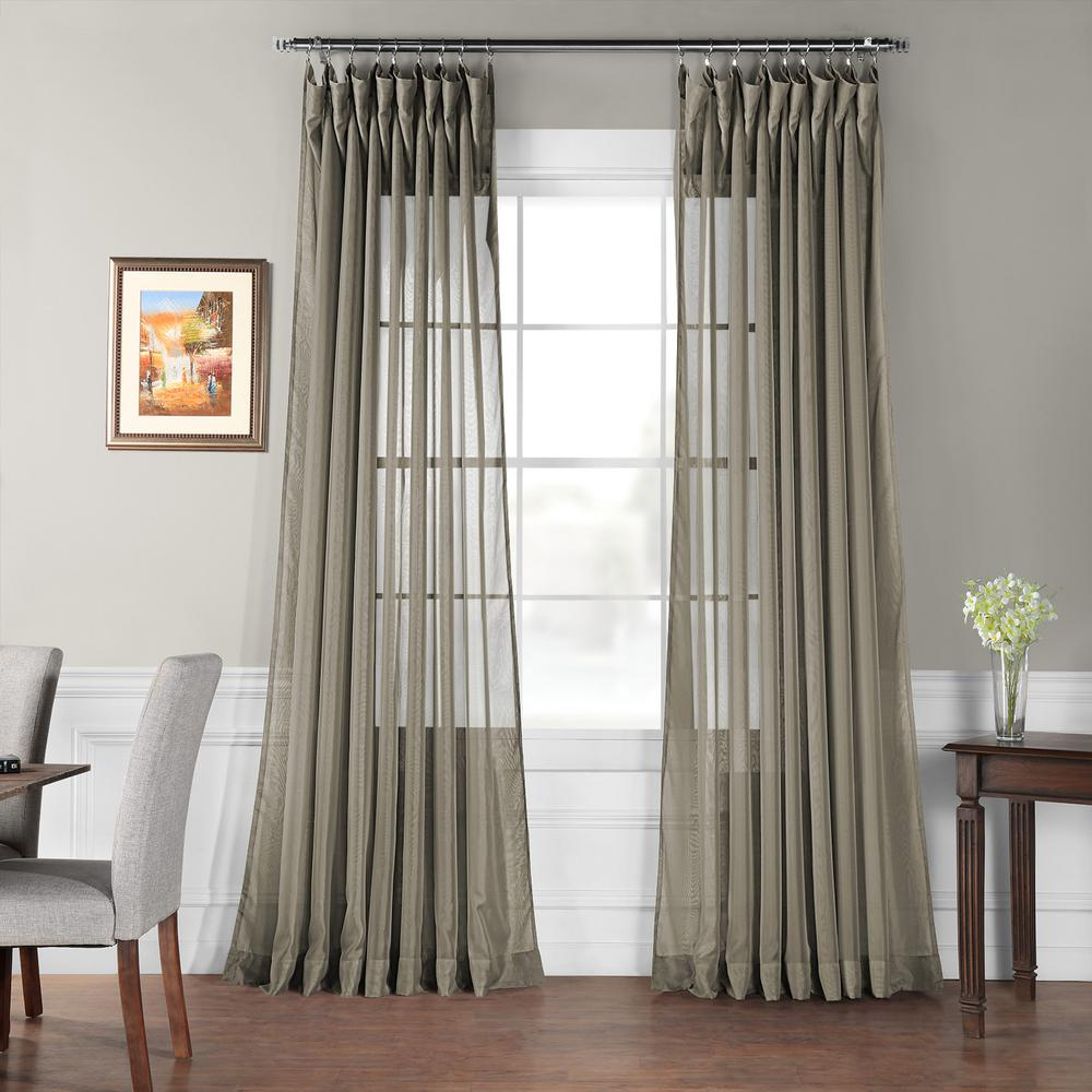 Double Wide Curtain Panels Exclusive Fabrics Furnishings Signature Double Wide Museum Grey Sheer Curtain 100 In W X 120 In L