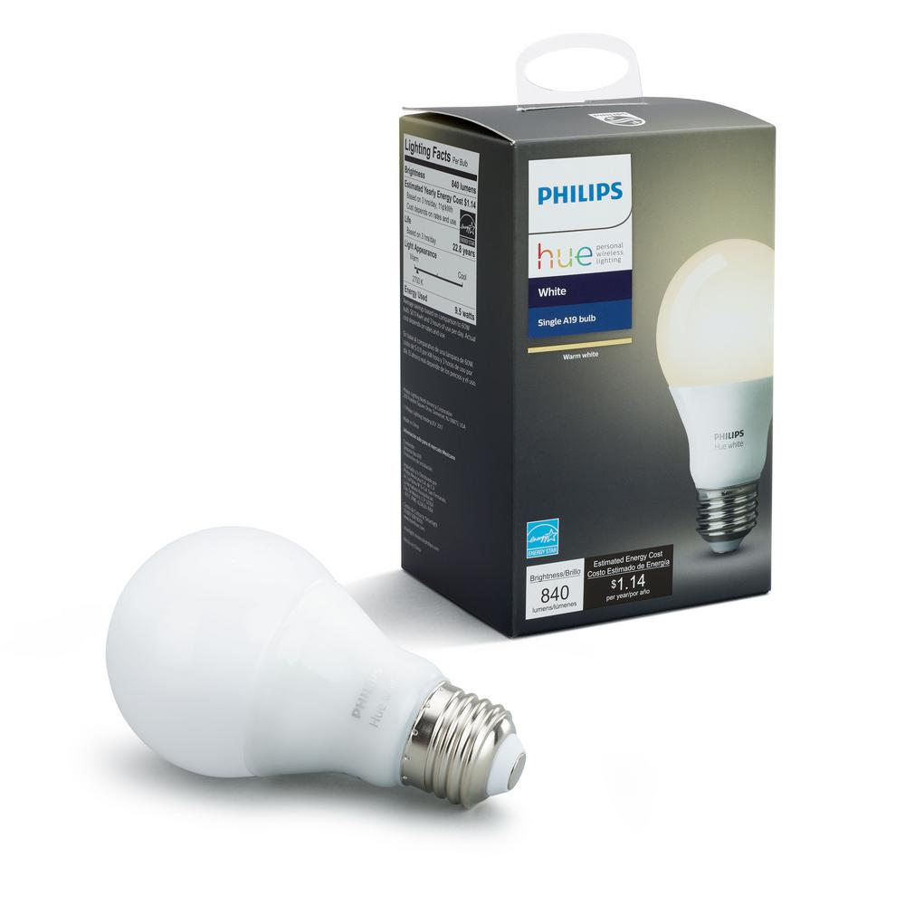 Philips Hub Philips Hue White A19 Led 60w Equivalent Dimmable Smart Wireless Bulb