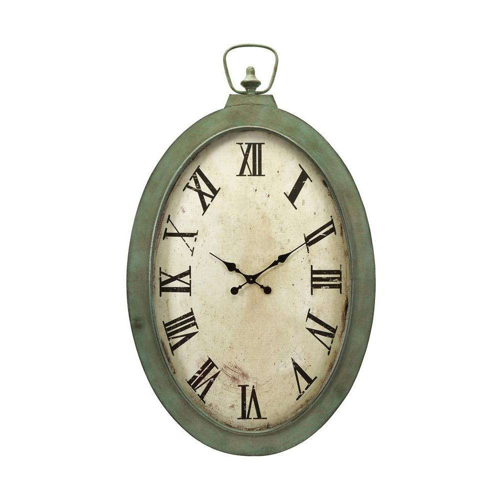 Oval Clock Face Noran White And Green Oversized Oval Wall Clock