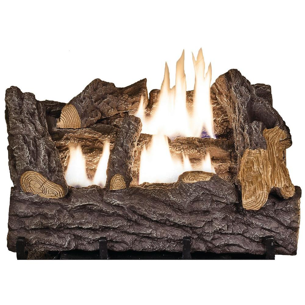 Ceramic Logs For Gas Fireplace 18 In Timber Creek Vent Free Dual Fuel Gas Log Set With Manual Control