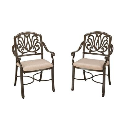 Home Styles Pair of Taupe Patio Dining Arm Chair-5559-802 ...