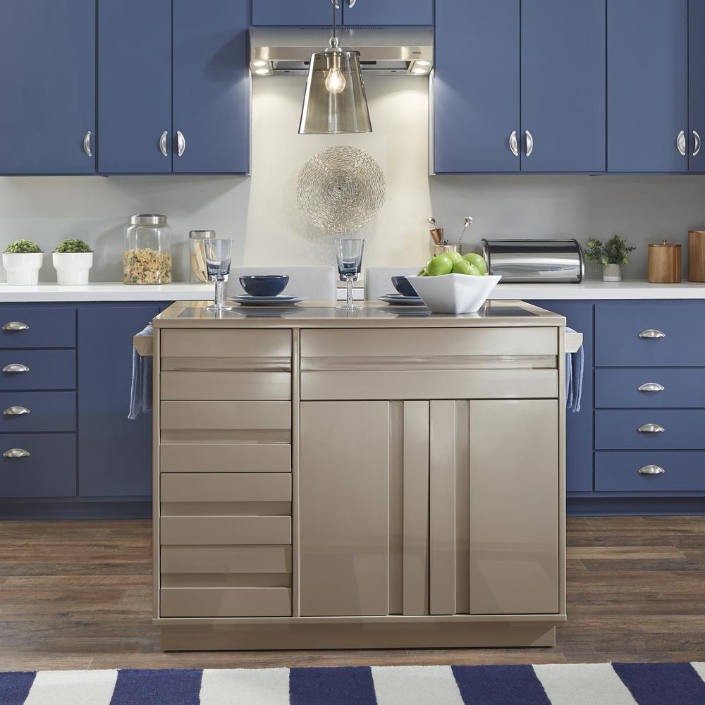 Stools Kitchen Islands Homestyles Linear Ii Gray Kitchen Island With 2 Stools 8001 948