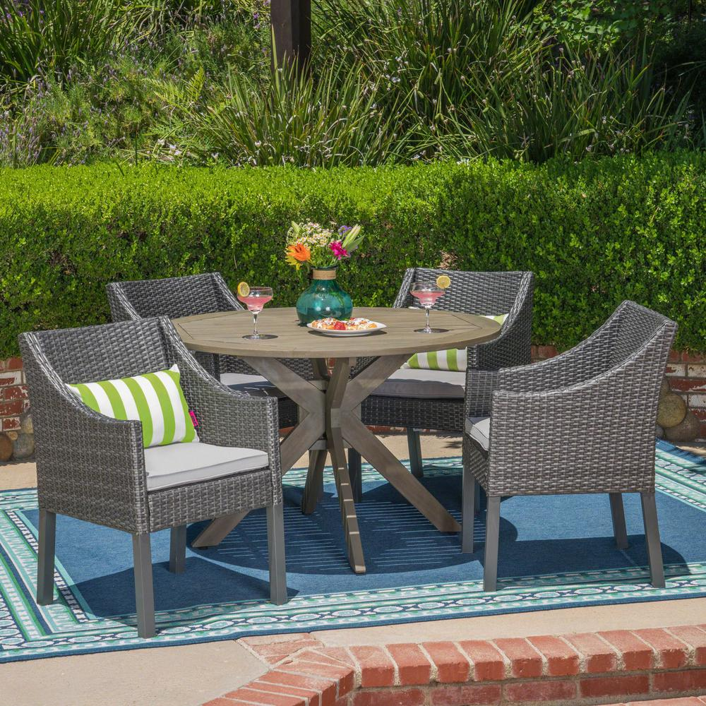 Owen 5 Piece Rattan Sofa Set With Cushions Noble House Owen Gray 5 Piece Wood And Wicker Outdoor Dining Set With Silver Cushions