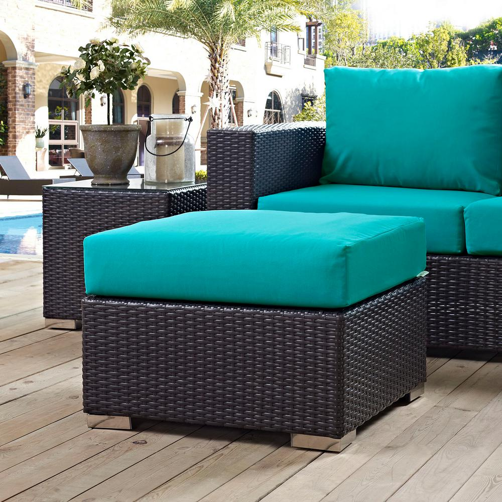 Square Ottoman Coffee Table Modway Convene Wicker Outdoor Patio Fabric Square Ottoman In Espresso With Turquoise Cushion