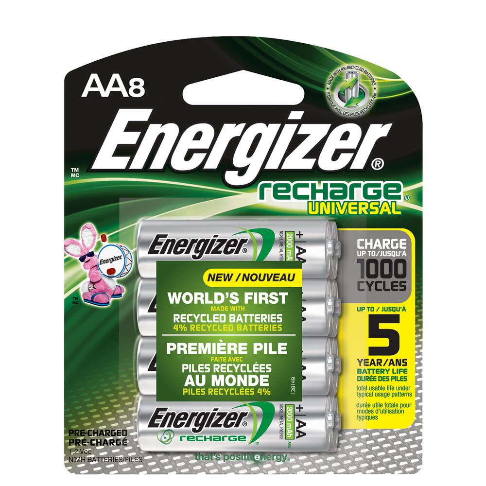 Batterie Aa Energizer Energizer Rechargeable Aa Batteries Nihm 2000 Mah Pre Charged 8 Count Recharge Universal