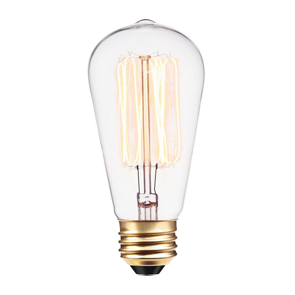 60w Light Bulb Globe Electric 60 Watt Incandescent S60 Vintage Squirrel Cage Medium Base Light Bulb