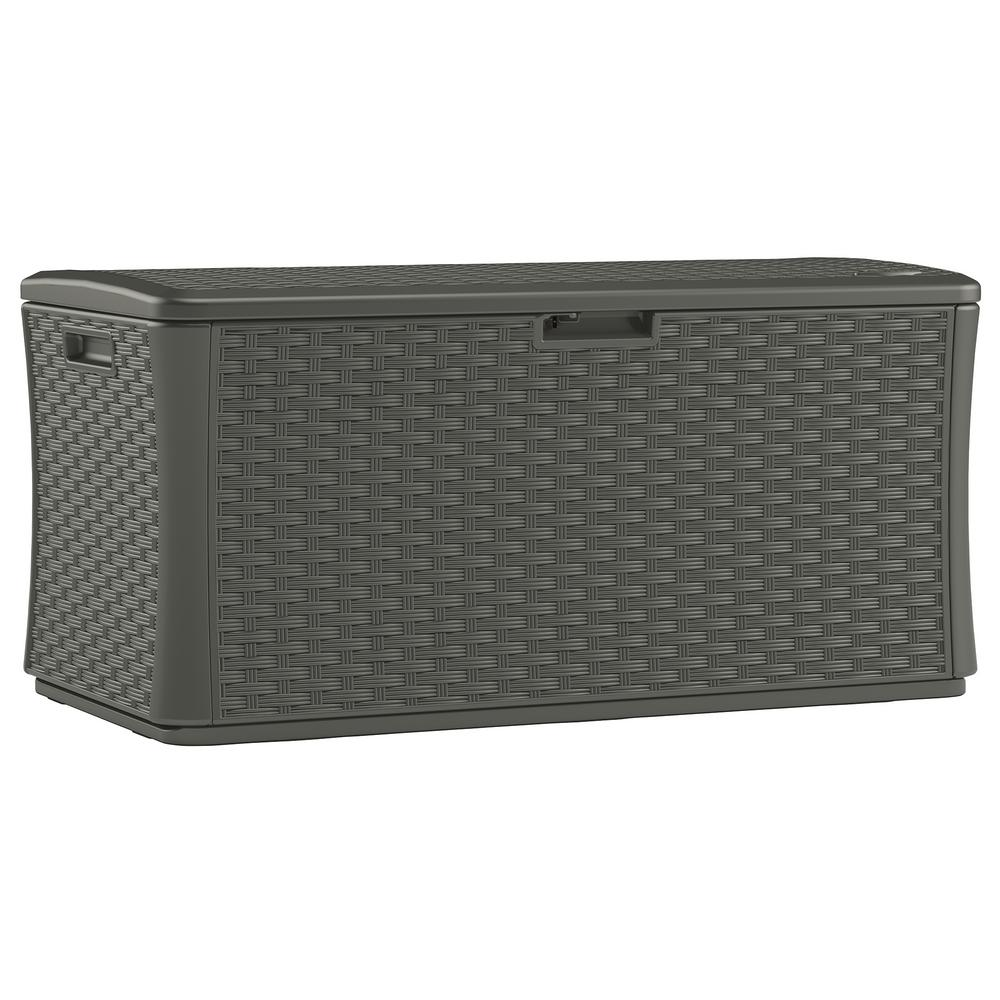 Discount Deck Furniture Stoney 134 Gal Resin Wicker Deck Box