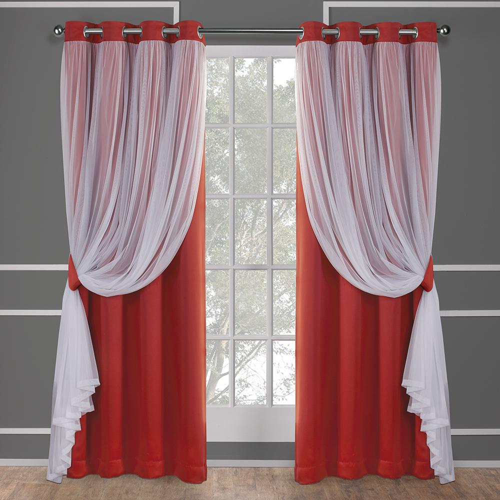 Orange Curtain Panels Catarina 52 In W X 96 In L Layered Sheer Blackout Grommet Top Curtain Panel In Spicy Orange 2 Panels