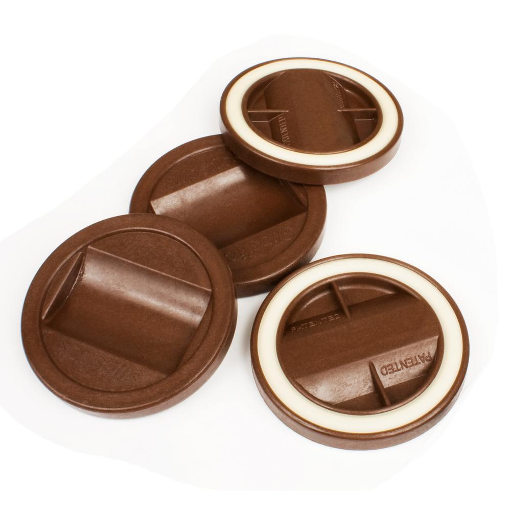 Bed Wheel Stoppers Slipstick 3 1 4 In Chocolate Color Bed Roller Furniture Wheel Caster Cup Gripper Set Of 4