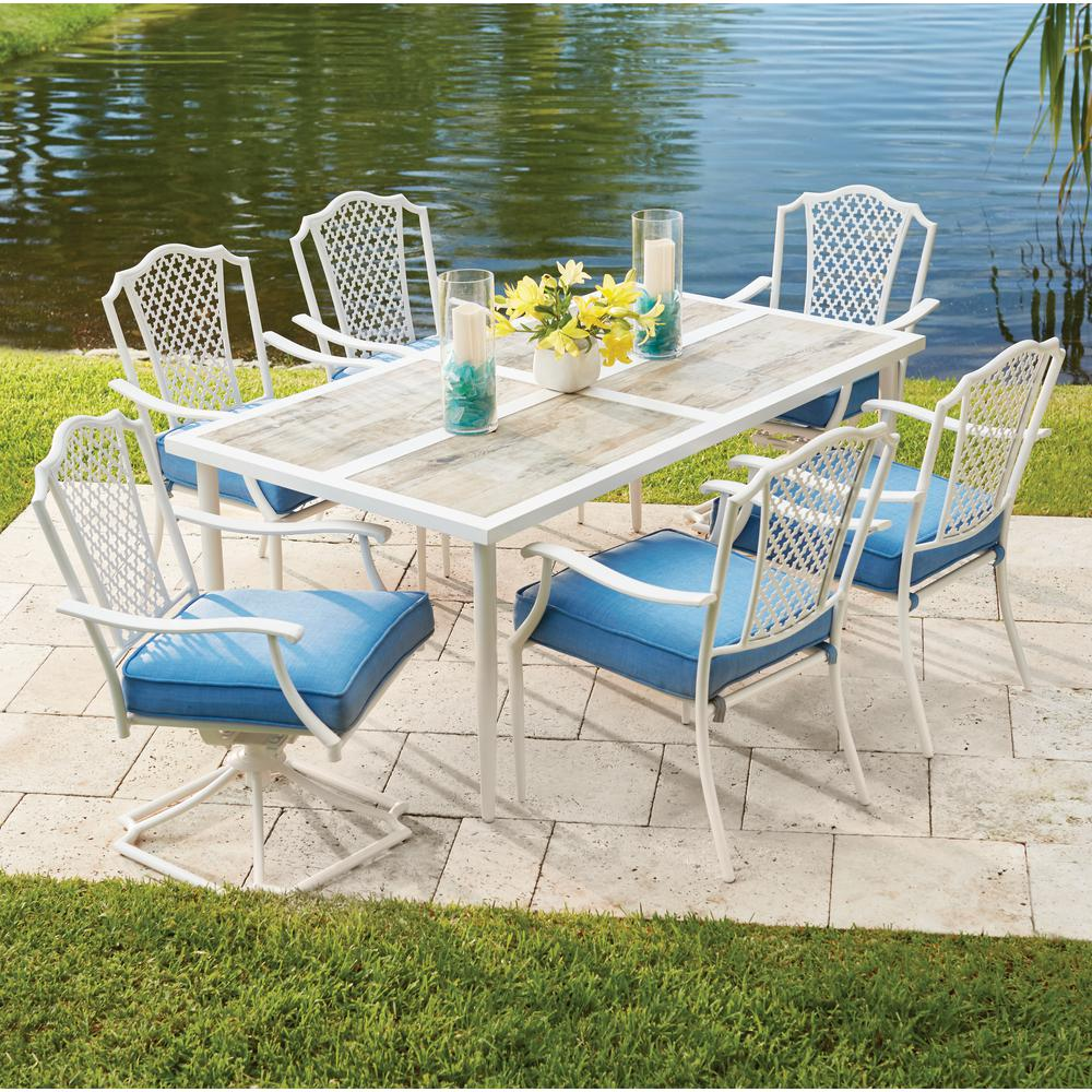 Outdoor Furniture Dining Set Sale Hampton Bay Alveranda 7 Piece Metal Outdoor Dining Set With Periwinkle Cushions