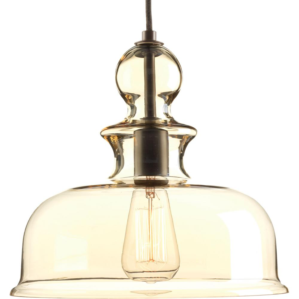 Glass Lamp Bowl Progress Lighting Staunton Collection 1 Light Antique Bronze Pendant With Champagne Glass