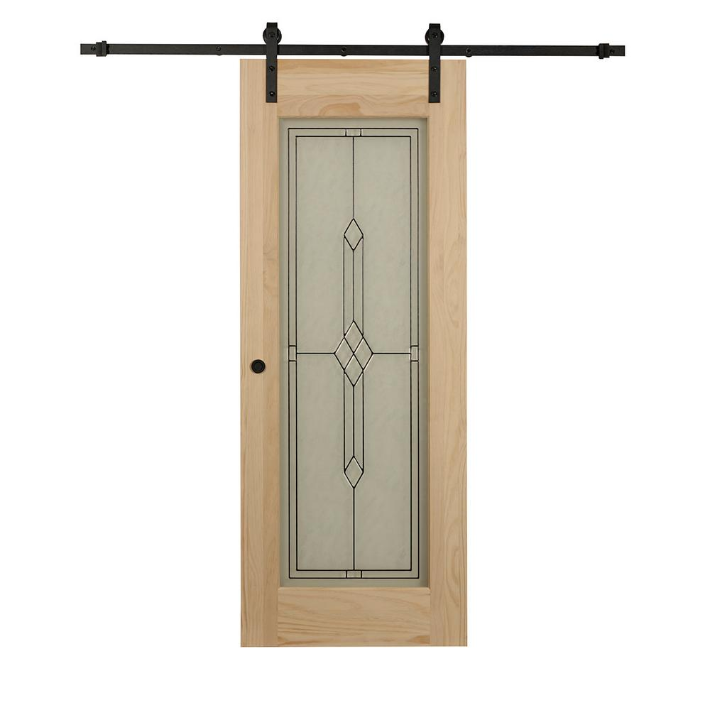 Timber Glass Doors Pinecroft 38 In X 84 In Timber Hill Diamond Frost Glass And Unfinished Pine Wood Sliding Barn Door Slab With Hardware Kit