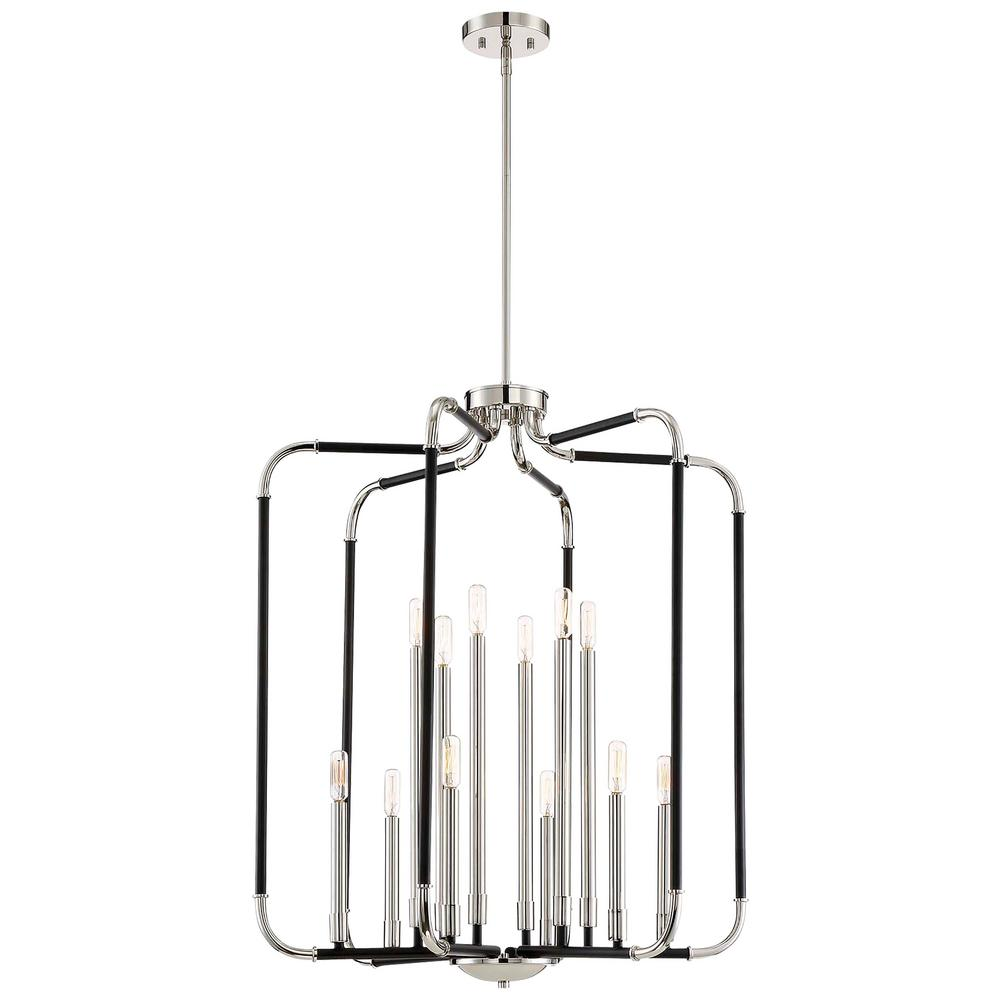 Design Liege Minka Lavery Liege 12 Light Matte Black With Polished Nickel Highlights Pendant