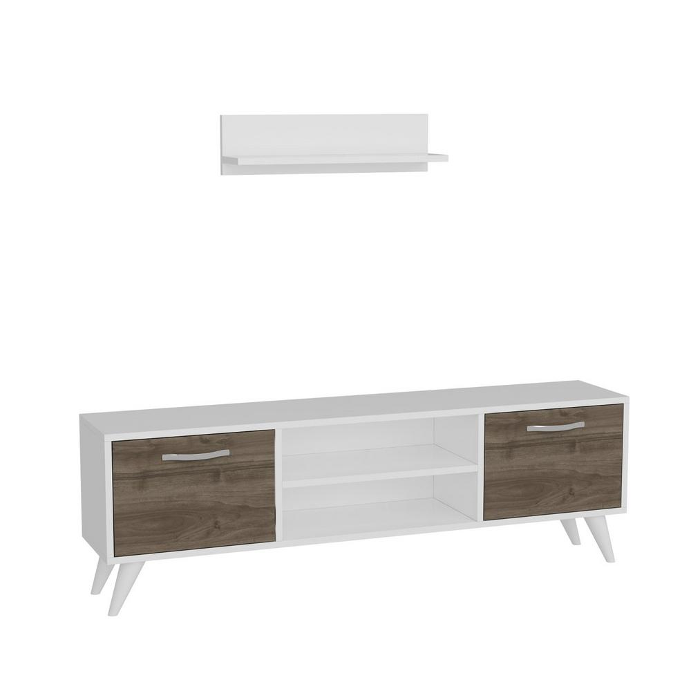 Tv Sideboard Modern Ada Home Decor Tandern White And Walnut Modern Tv Stand