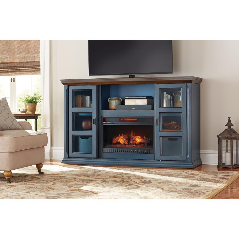 Blue Fireplace Home Decorators Collection Arabian Tall 65 In. Tv Stand