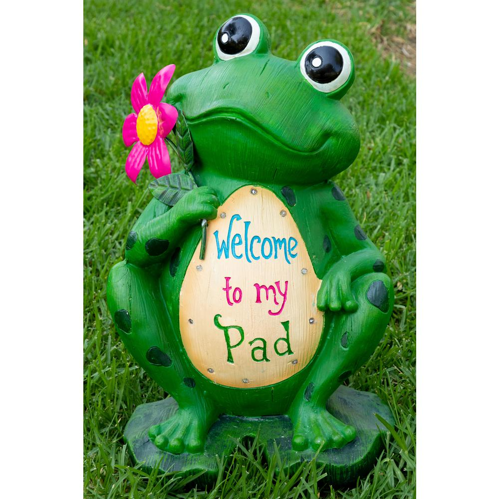 Welcome Statues Garden Alpine Corporation 18 In Welcome To My Pad Frog Statuary