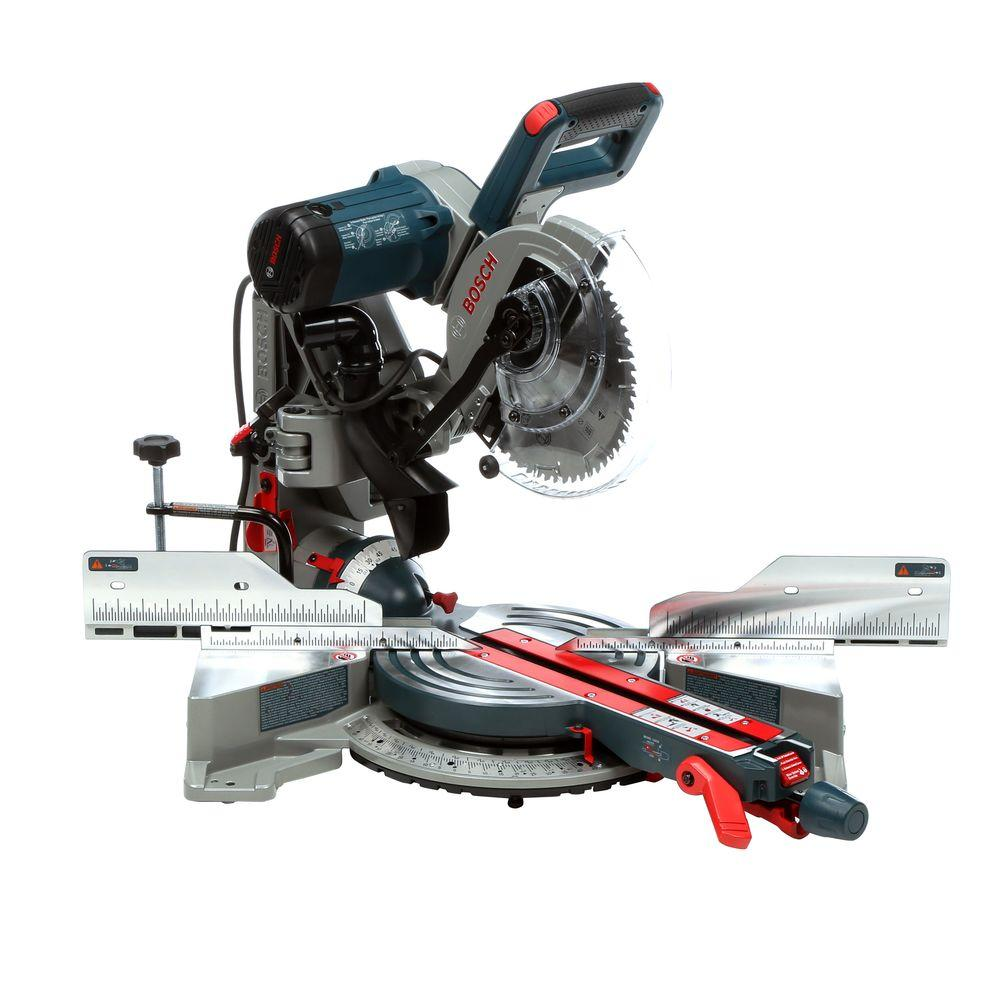 10 In Cm Bosch 15 Amp Corded 10 In Dual Bevel Sliding Glide Miter Saw With 60 Tooth Carbide Saw Blade