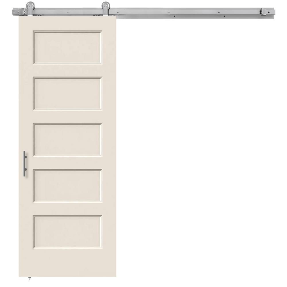 Home Depot Nickel Door Handles Jeld-wen 30 In. X 84 In. Conmore Primed Smooth Molded Composite Mdf Barn Door With Modern