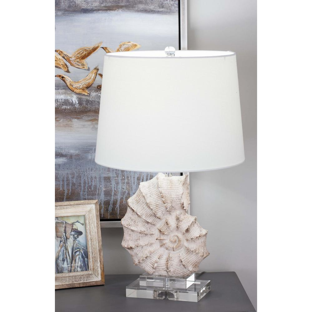 Coastal Lamps 24 In Coastal Living Polystone And Glass Sea Snail Table Lamp