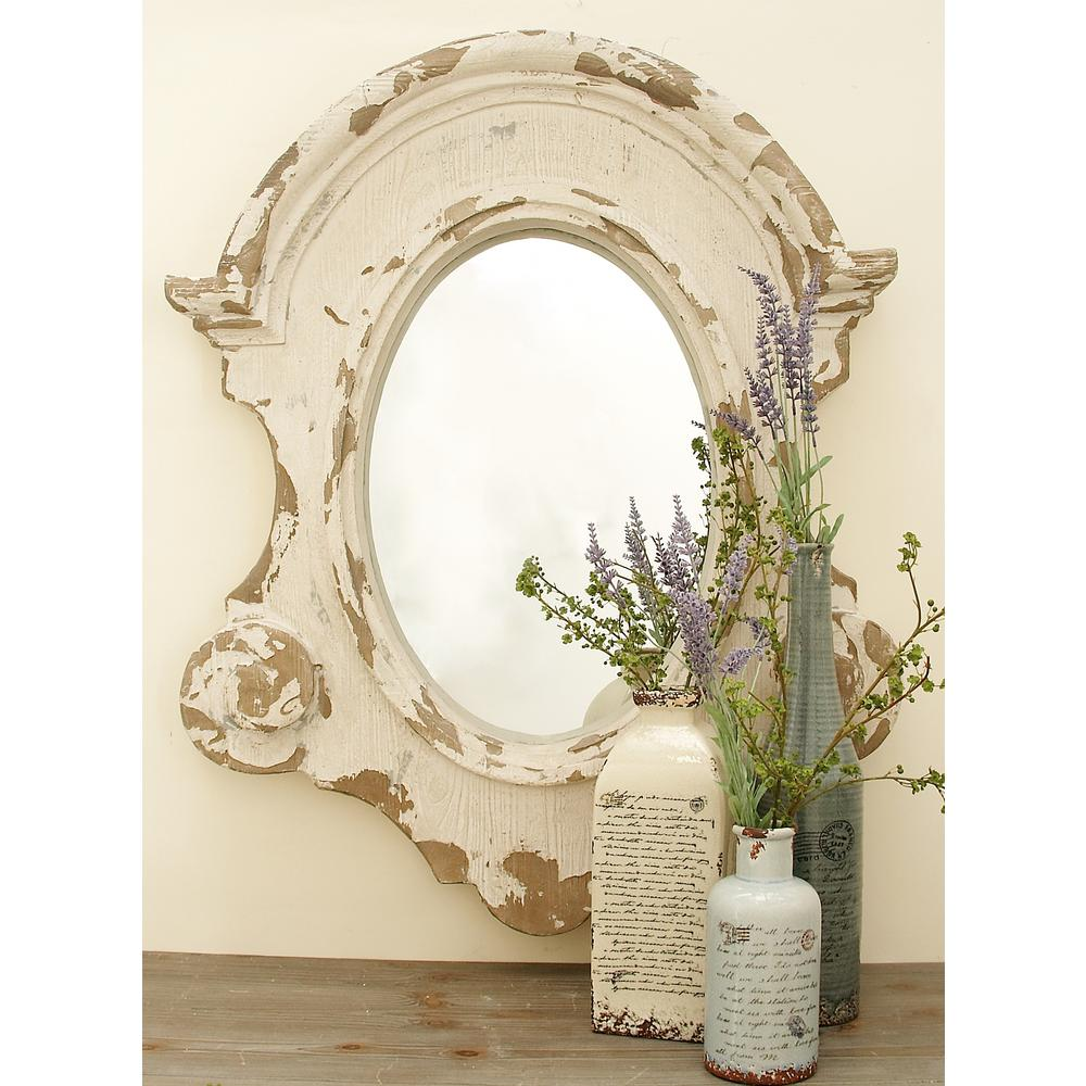 Shabby Chic 43 In X 35 In Scalloped Shabby Chic Framed Wall Mirror
