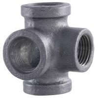 LDR Industries Pipe Decor 1/2 in. 4-Way Black Iron Pipe ...