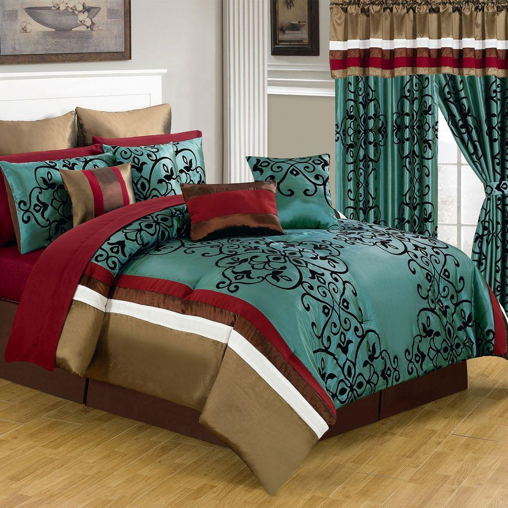 Comforter Sets With Curtains Lavish Home Eve Green 24 Piece Queen Comforter Set 66 00013 24pc Q