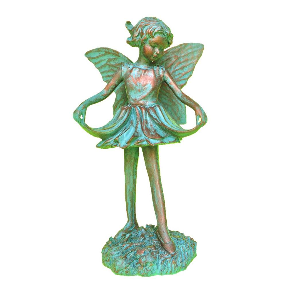 Faerie Statues Homestyles 8 In H Emily Fairy Home Patio And Garden Statue Figurine In Bronze Patina