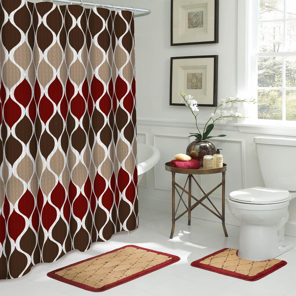 Red And Brown Shower Curtain Bath Fusion Clarisse 18 In W X 30 In L 15 Piece Bath Rug And