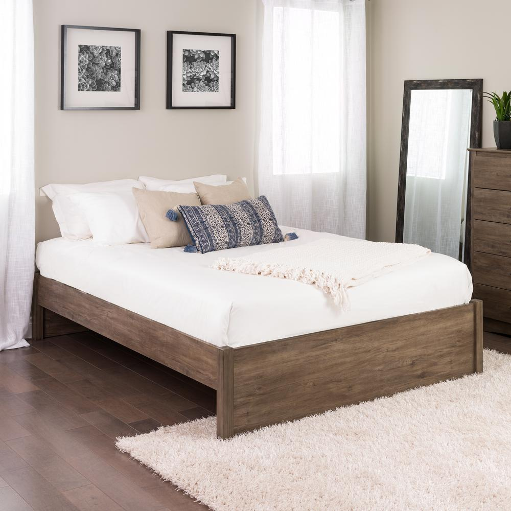4post Bed Prepac Select Drifted Gray Queen 4 Post Platform Bed