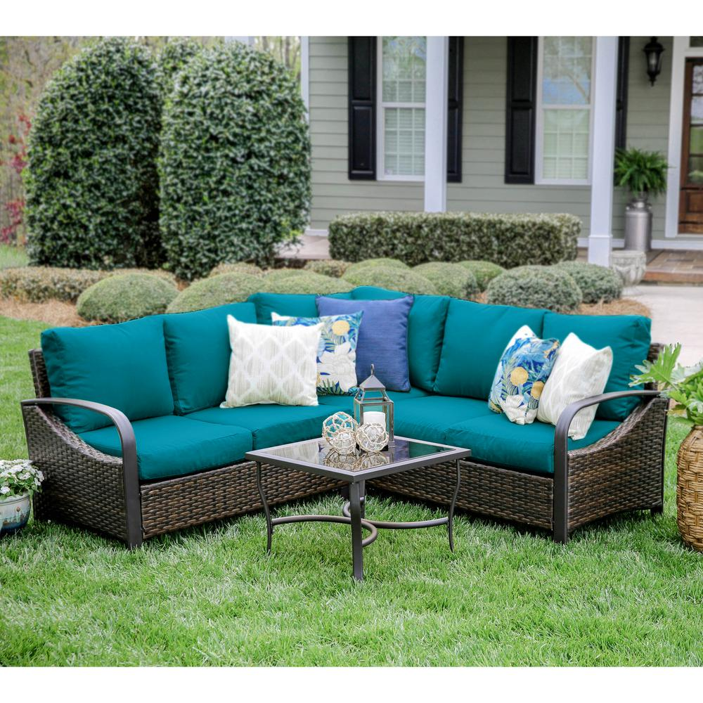 Best Choice Products 5pc Rattan Wicker Sofa Set Instructions Leisure Made Trenton 4 Piece Wicker Outdoor Sectional Set With Peacock Cushions