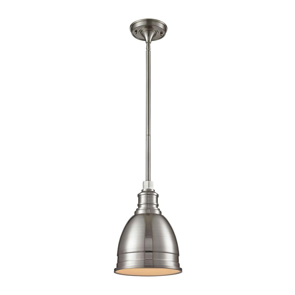 Pendant Lighting Home Decorators Collection 1 Light Die Cast Aluminum Hardware Brushed Nickel Restoration Pendant With Metal Shade