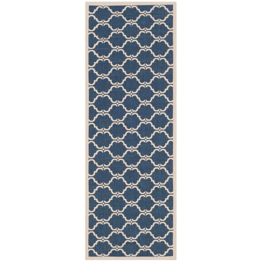Safavieh Courtyard Safavieh Courtyard Navy Beige 2 Ft X 12 Ft Indoor Outdoor Runner Rug