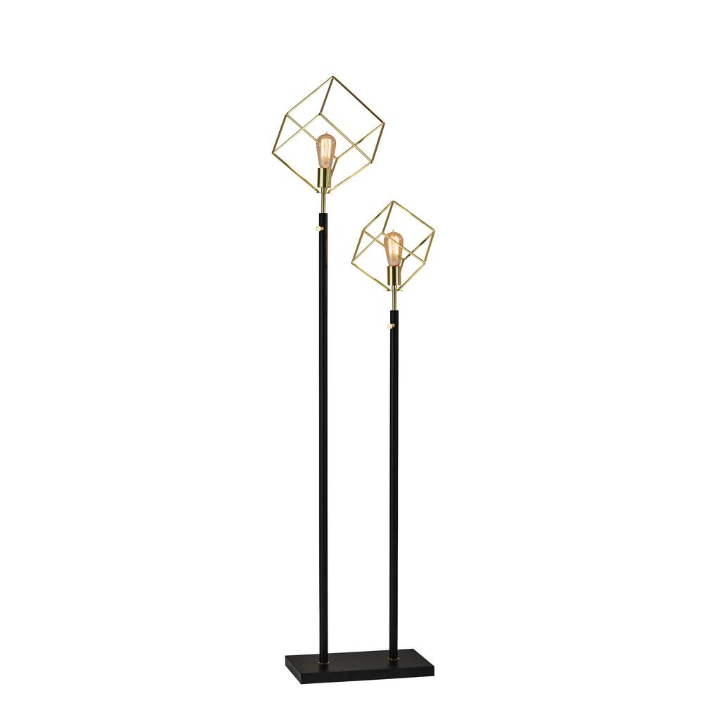 Etagere Otto Adesso Otto 69 In Matte Black Gold Floor Lamp