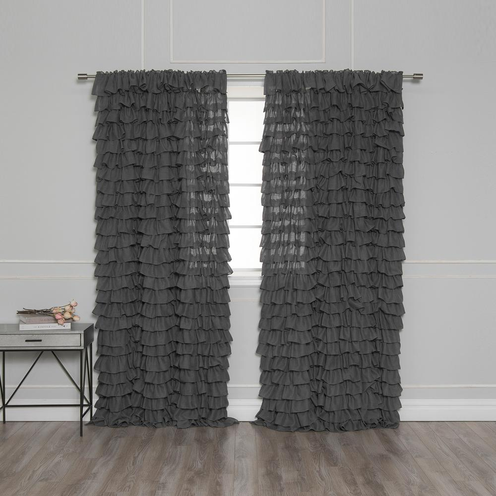 Ruffle Curtain Panel 84 In L Ruffle Cascade Curtains In Dark Grey