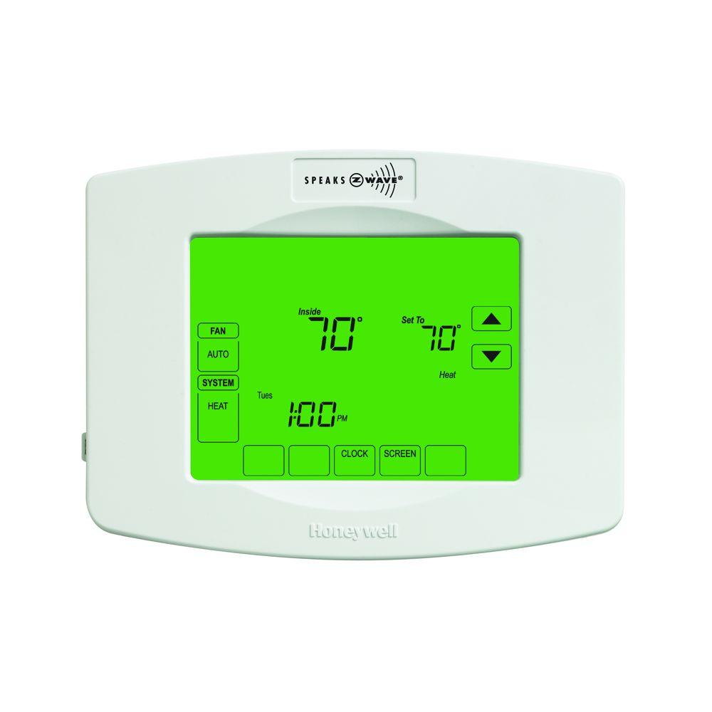 Honeywell Programmable Thermostat Z Wave 7 Day Touchscreen Thermostat With Wiresaver