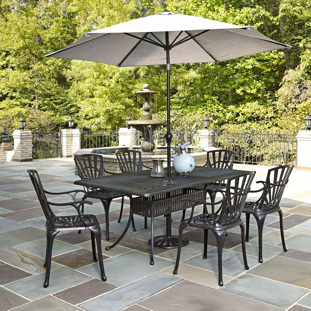 Outdoor Patio Furniture Dining Table Home Styles Largo 7 Piece Outdoor Patio Dining Set With Umbrella