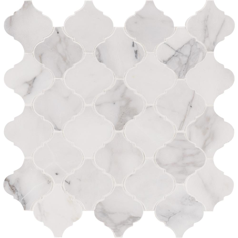 Arabesque Marble Tile Msi Calacatta Cressa Arabesque 12 In X 12 In X 10mm Honed Marble Mesh Mounted Mosaic Tile 10 Sq Ft Case