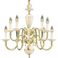 Volume Lighting 10-Light Polished Solid Brass Chandelier ...