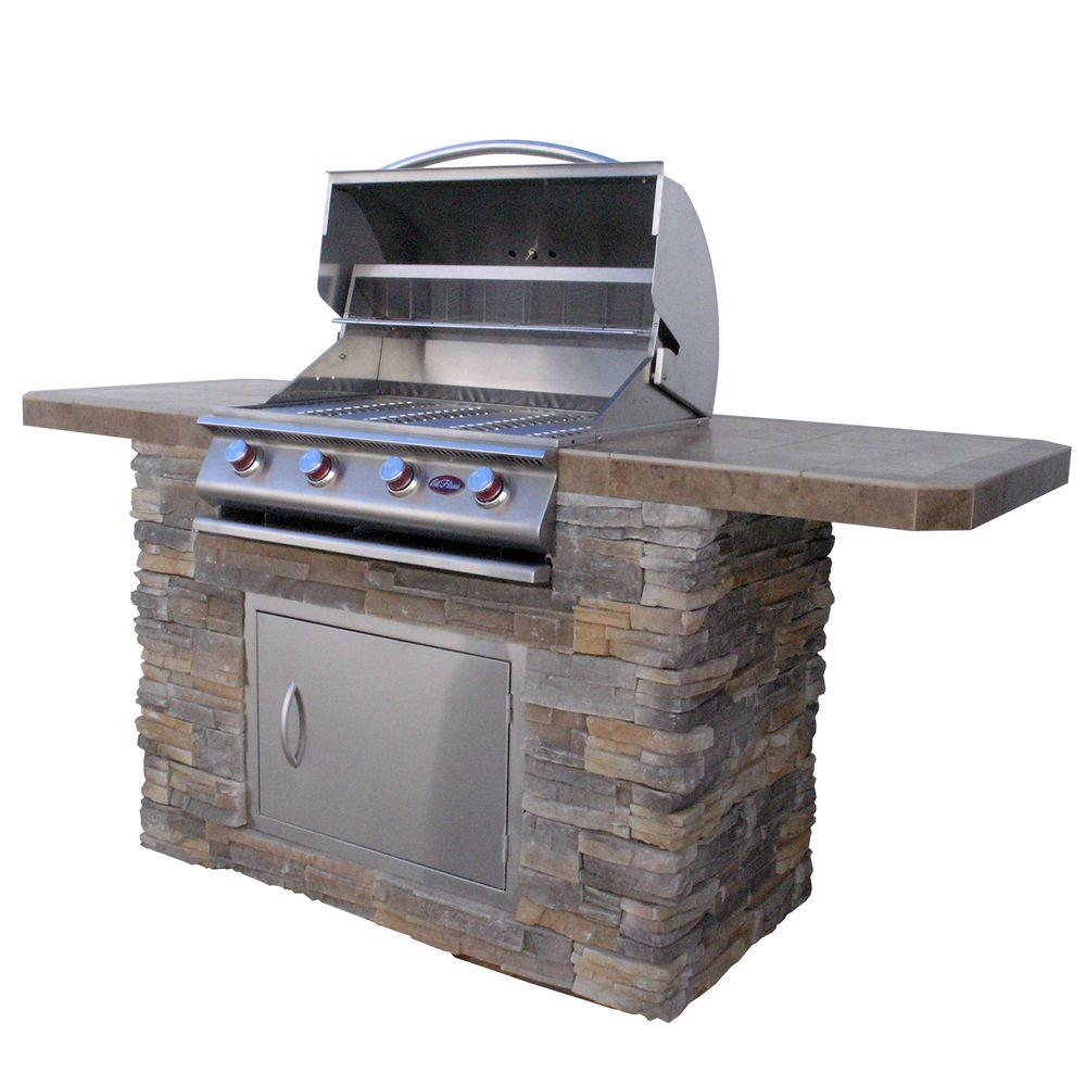 Outdoor Grill 7 Ft Cultured Stone Bbq Island With 4 Burner Grill In Stainless Steel